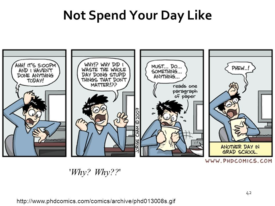 42 Not Spend Your Day Like http://www.phdcomics.com/comics/archive/phd013008s.gif Why Why