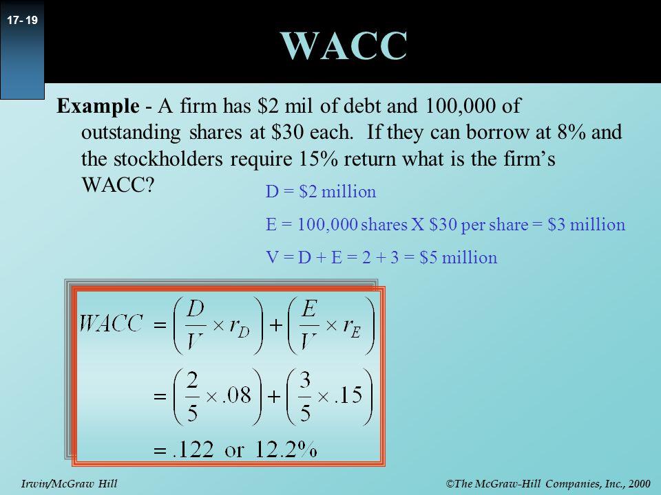 © The McGraw-Hill Companies, Inc., 2000 Irwin/McGraw Hill 17- 20 r DVDV rDrD rErE r E =WACC WACC