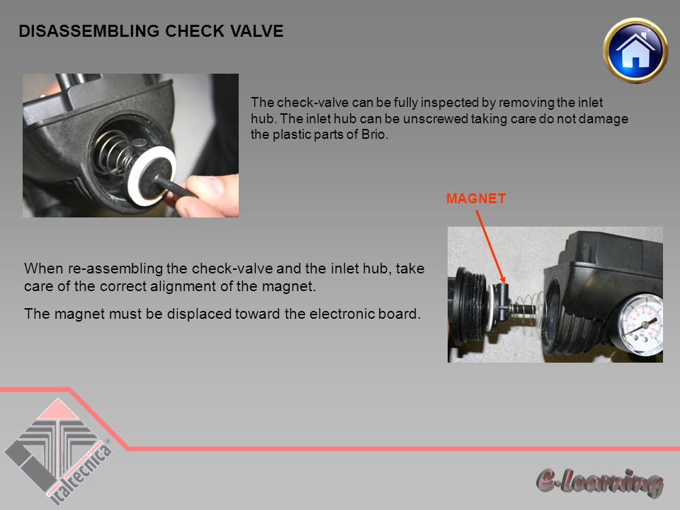DISASSEMBLING CHECK VALVE The check-valve can be fully inspected by removing the inlet hub.