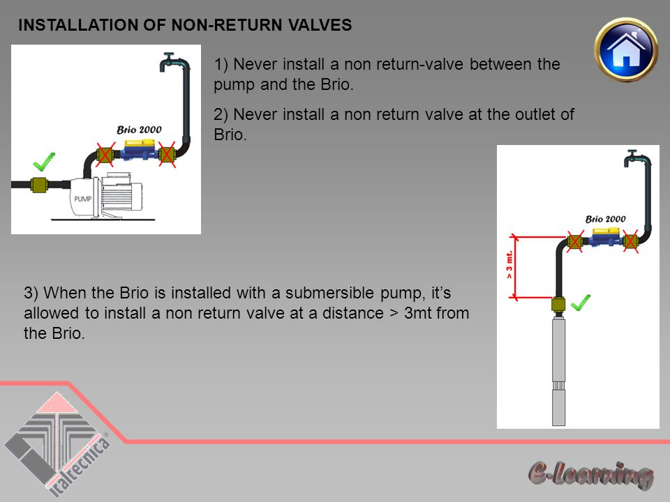 1) Never install a non return-valve between the pump and the Brio.