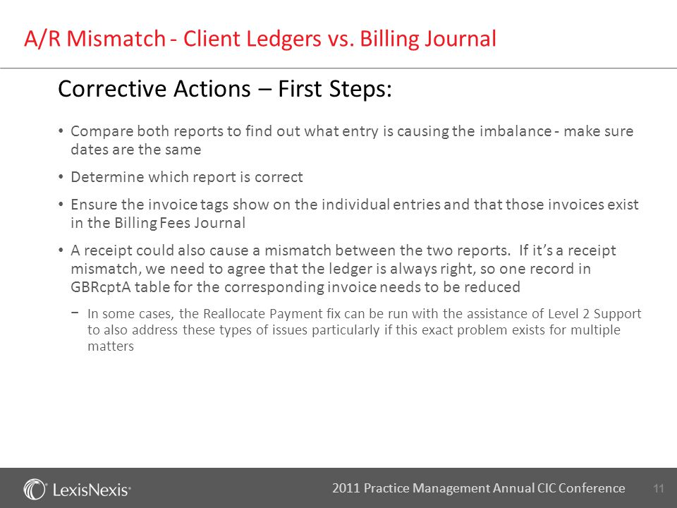 11 2011 Practice Management Annual CIC Conference A/R Mismatch - Client Ledgers vs. Billing Journal Corrective Actions – First Steps: Compare both rep