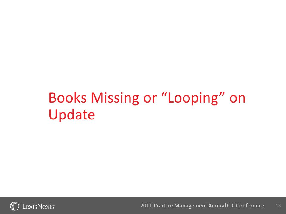"13 2011 Practice Management Annual CIC Conference Books Missing or ""Looping"" on Update"