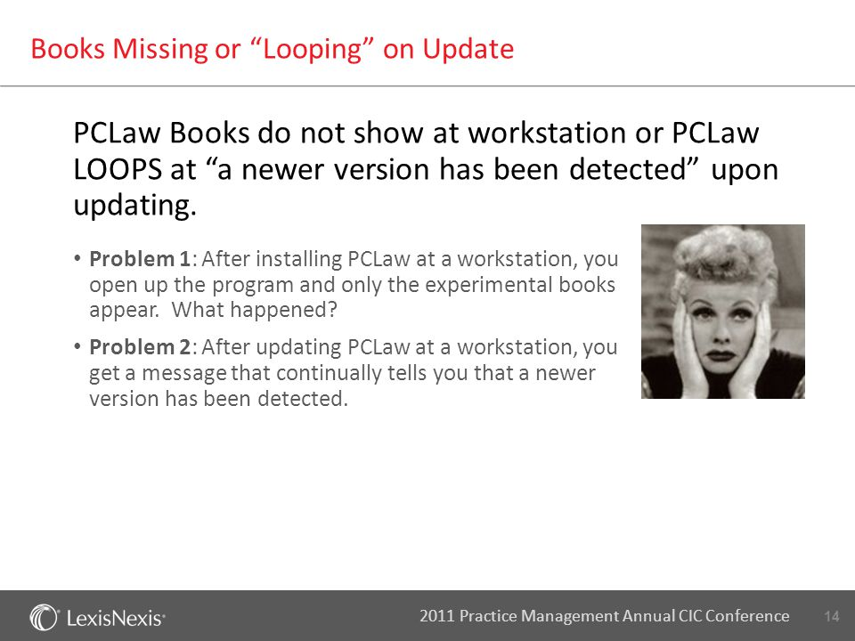 "14 2011 Practice Management Annual CIC Conference Books Missing or ""Looping"" on Update PCLaw Books do not show at workstation or PCLaw LOOPS at ""a new"
