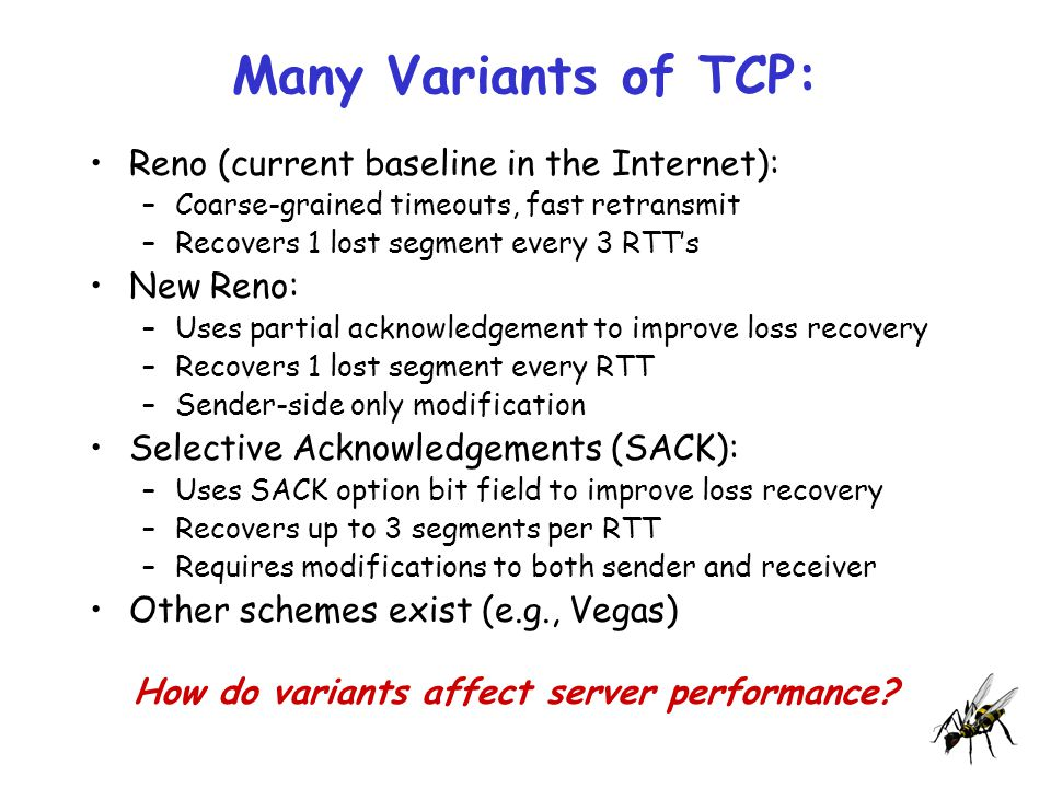 Many Variants of TCP: Reno (current baseline in the Internet): –Coarse-grained timeouts, fast retransmit –Recovers 1 lost segment every 3 RTT's New Reno: –Uses partial acknowledgement to improve loss recovery –Recovers 1 lost segment every RTT –Sender-side only modification Selective Acknowledgements (SACK): –Uses SACK option bit field to improve loss recovery –Recovers up to 3 segments per RTT –Requires modifications to both sender and receiver Other schemes exist (e.g., Vegas) How do variants affect server performance?