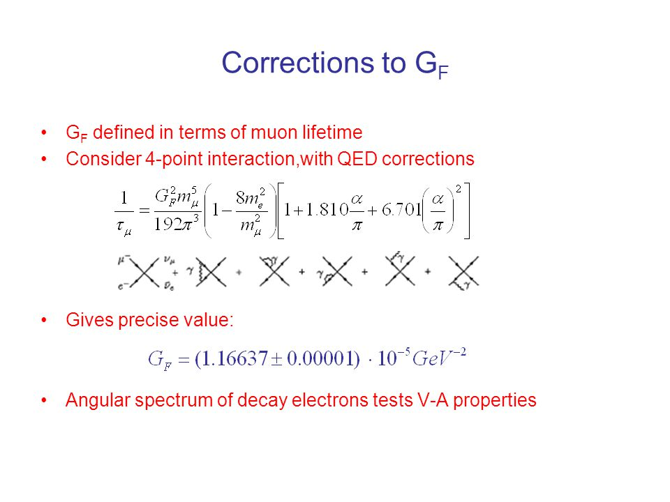 Corrections to G F G F defined in terms of muon lifetime Consider 4-point interaction,with QED corrections Gives precise value: Angular spectrum of de