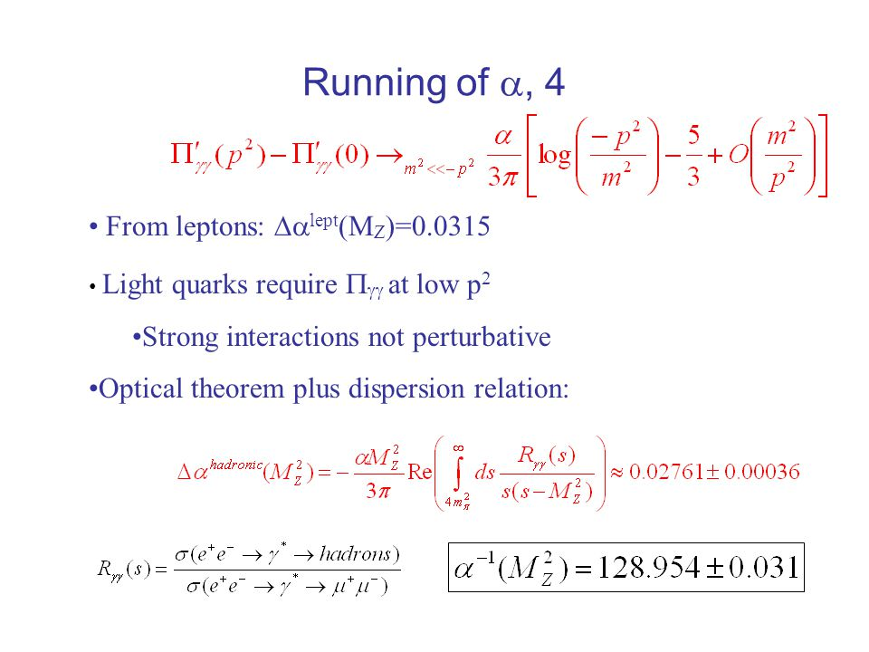 Running of , 4 From leptons:  lept (M Z )=0.0315 Light quarks require   at low p 2 Strong interactions not perturbative Optical theorem plus dispersion relation: