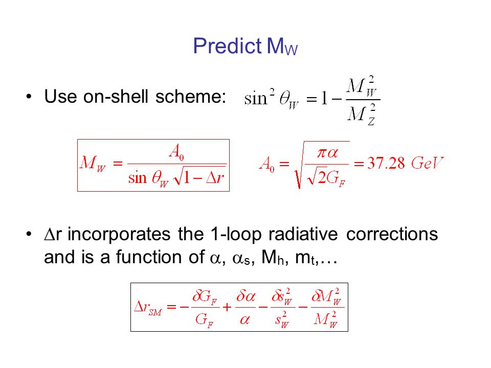 Predict M W Use on-shell scheme:  r incorporates the 1-loop radiative corrections and is a function of ,  s, M h, m t,…