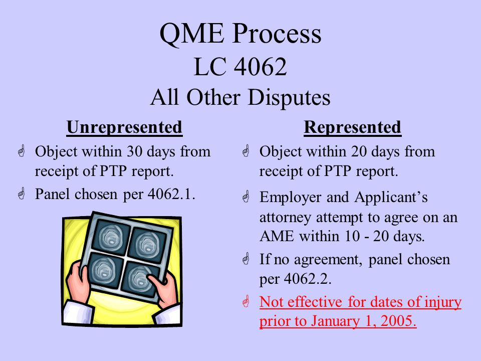QME Process LC 4062.1 Unrepresented Panels GMust use our form.