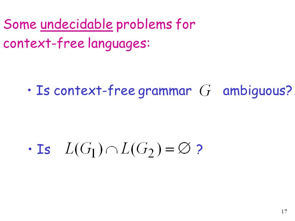 17 Some undecidable problems for context-free languages: Is context-free grammar ambiguous? Is ?