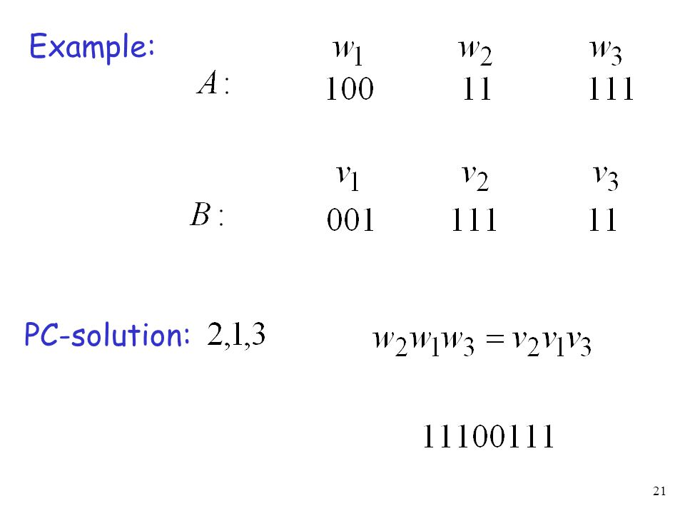 21 Example: PC-solution: