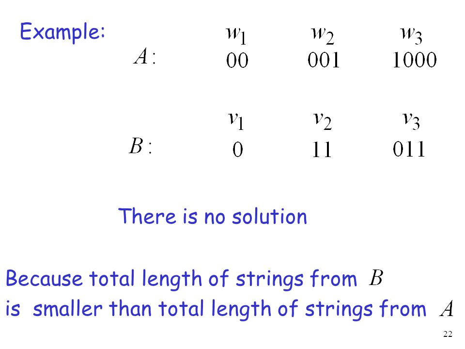 22 Example: There is no solution Because total length of strings from is smaller than total length of strings from