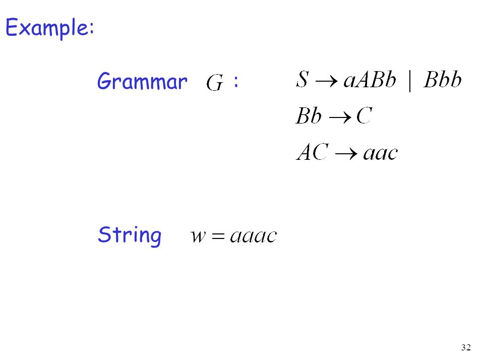 32 Example: Grammar : String