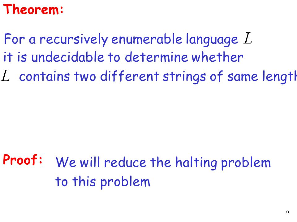 40 Algorithm for membership problem: Input: unrestricted grammar string Construct the pair If has an MPC-solution then else
