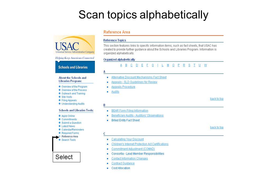 Select Scan topics alphabetically