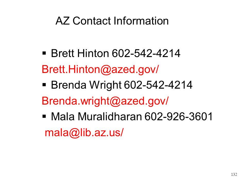 AZ Contact Information  Brett Hinton 602-542-4214 Brett.Hinton@azed.gov/  Brenda Wright 602-542-4214 Brenda.wright@azed.gov/  Mala Muralidharan 602