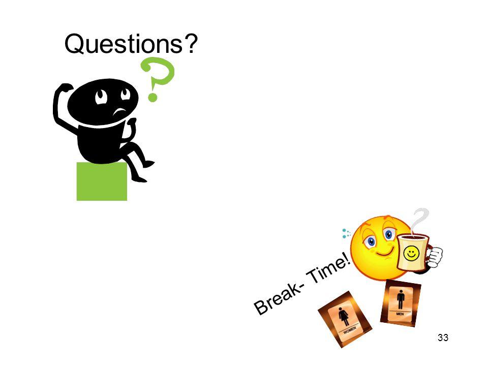 33 Questions? Break- Time!