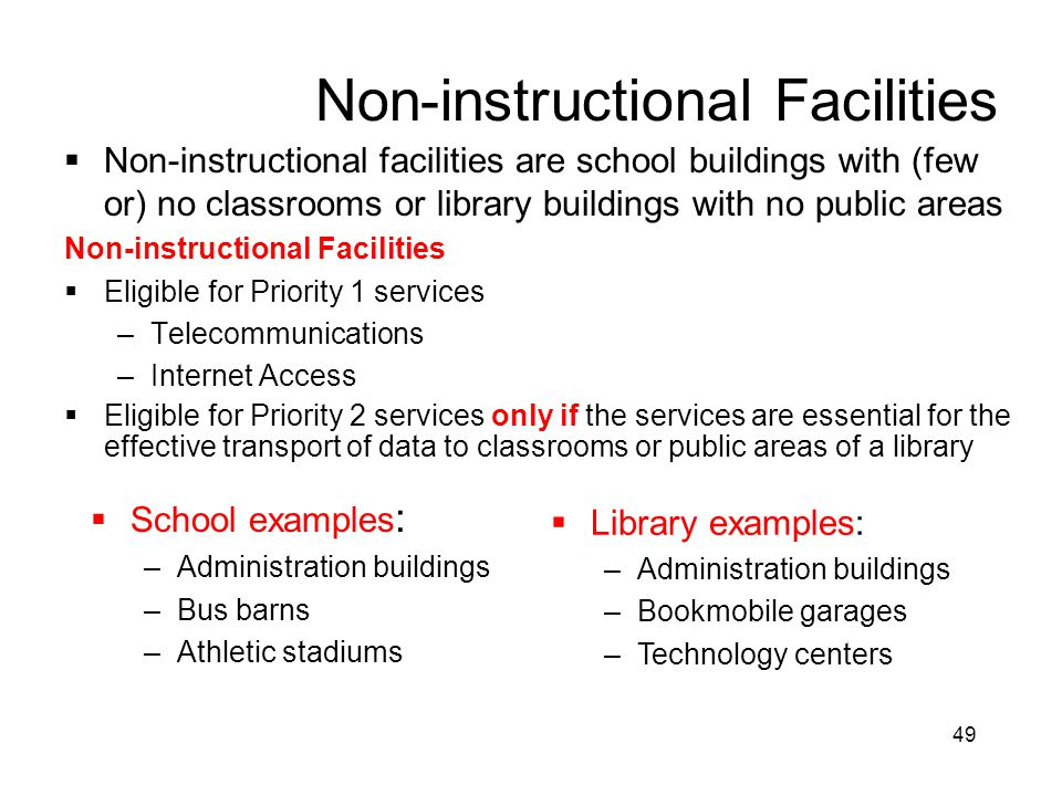 49 Non-instructional Facilities  Non-instructional facilities are school buildings with (few or) no classrooms or library buildings with no public ar