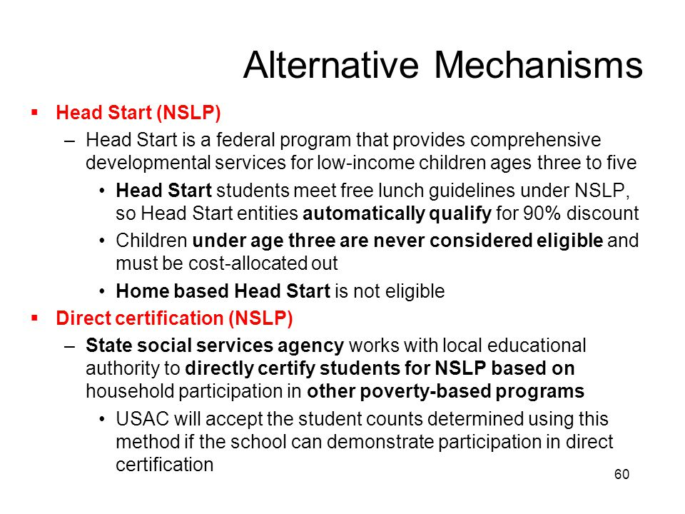 60 Alternative Mechanisms  Head Start (NSLP) –Head Start is a federal program that provides comprehensive developmental services for low-income child
