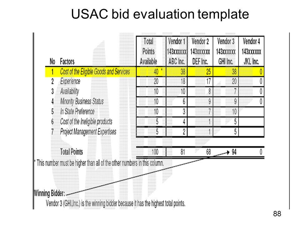 USAC bid evaluation template 88