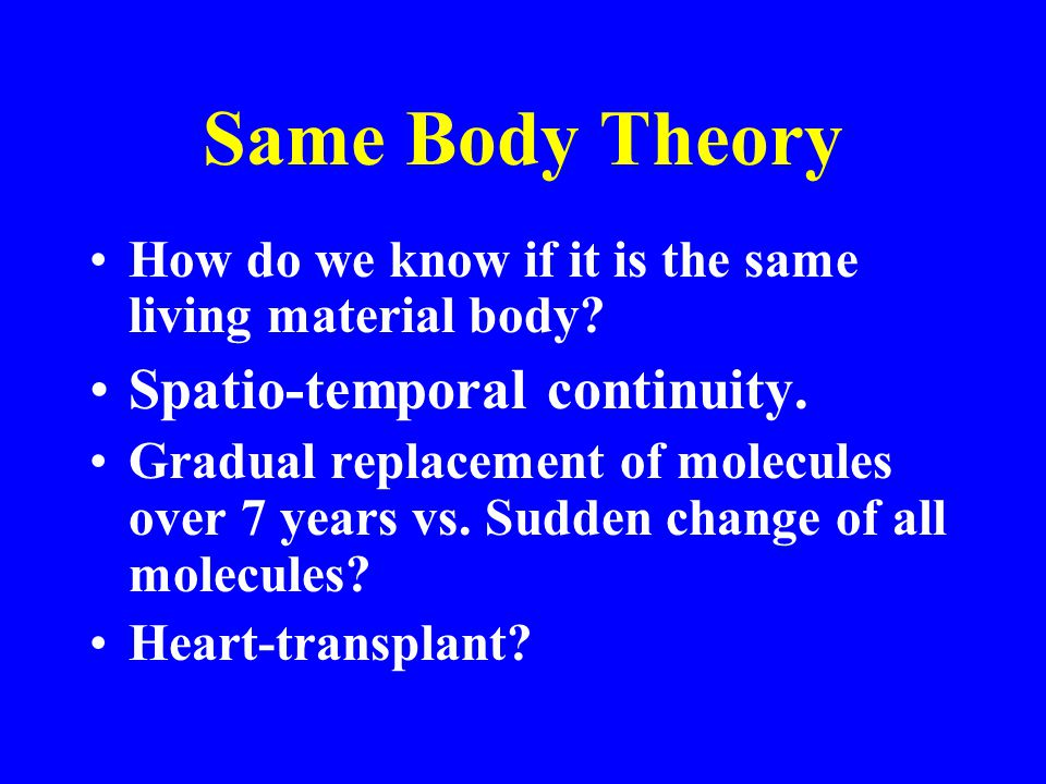Same Body Theory How do we know if it is the same living material body.