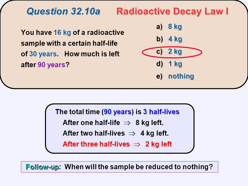 90 years3 half-lives After three half-lives  2 kg left The total time (90 years) is 3 half-lives. After one half-life  8 kg left. After two half-liv