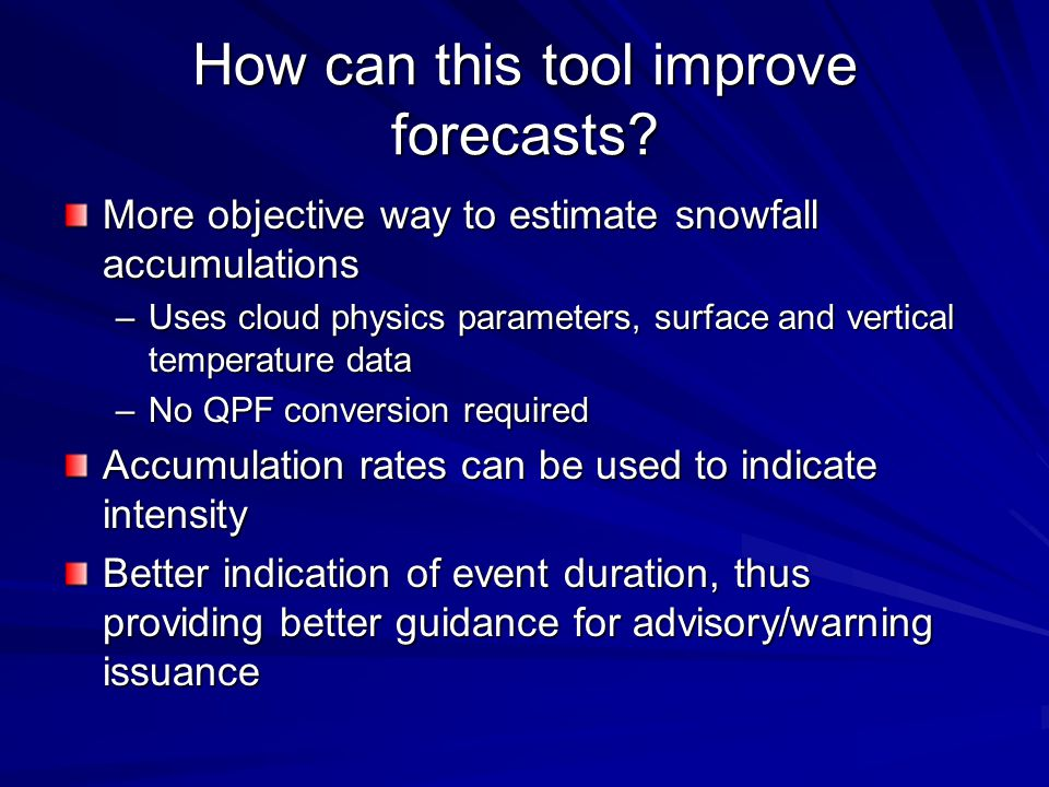 How can this tool improve forecasts.