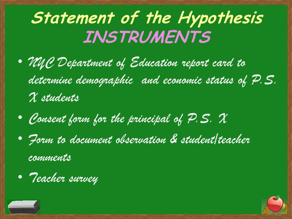 Statement of the Hypothesis INSTRUMENTS NYC Department of Education report card to determine demographic and economic status of P.S.