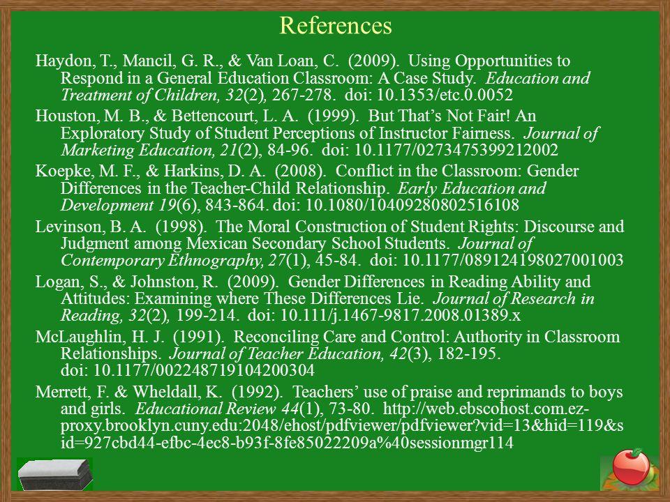 References Haydon, T., Mancil, G. R., & Van Loan, C.