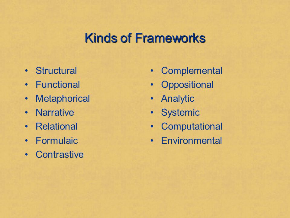 Part II Kinds of Frameworks or Our Tool Chest