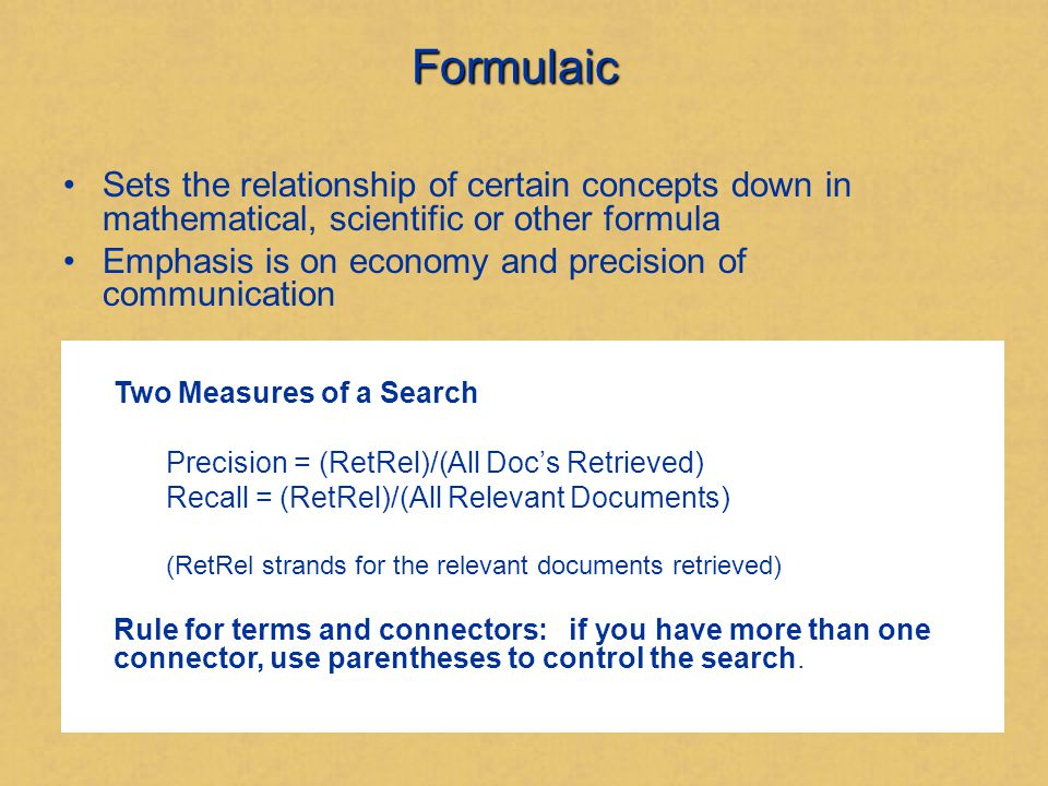 Second Example of Relational Framework