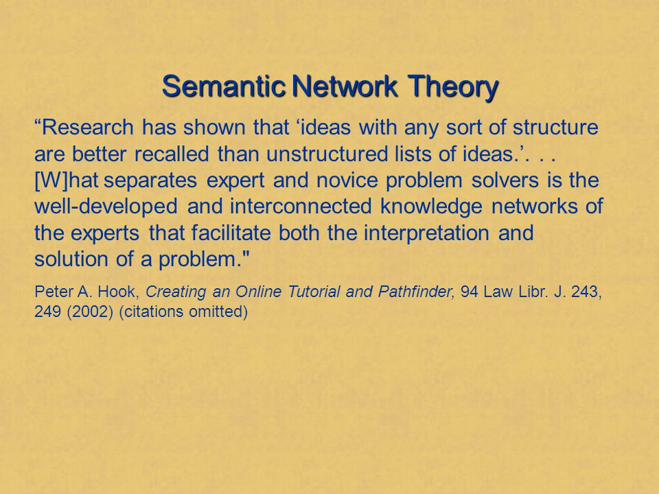 Semantic Network Theory Our memory is organized into networks consisting of interlinked nodes.