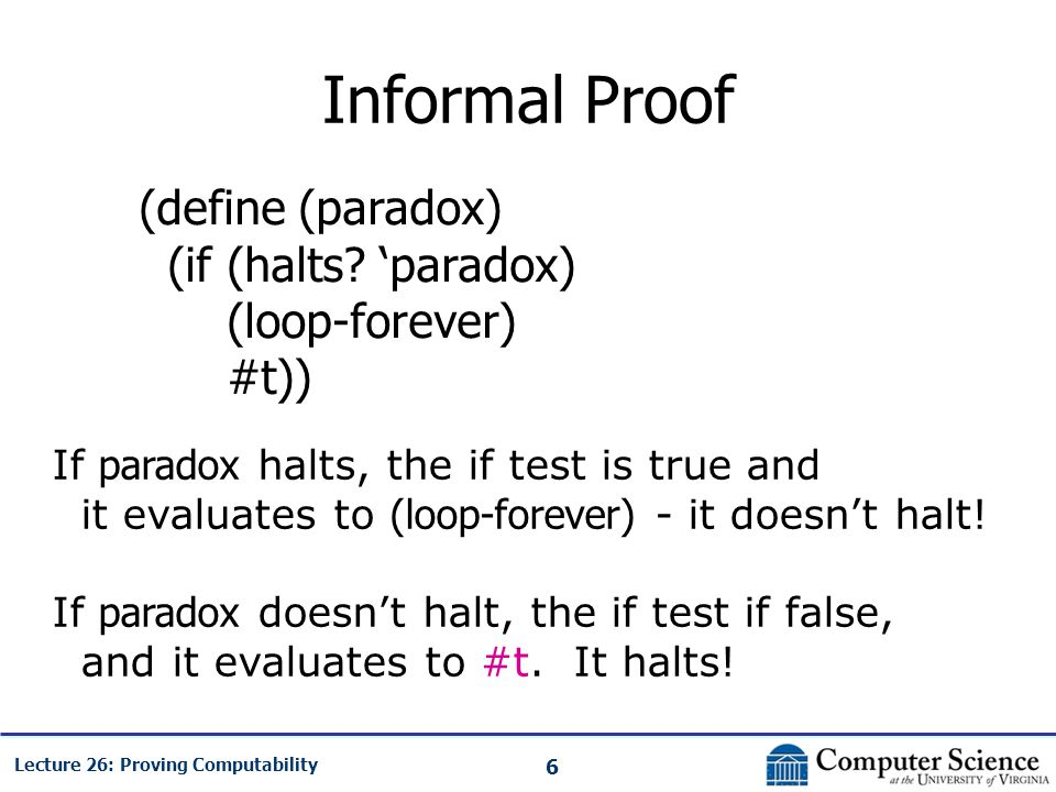 6 Lecture 26: Proving Computability Informal Proof (define (paradox) (if (halts? 'paradox) (loop-forever) #t)) If paradox halts, the if test is true a