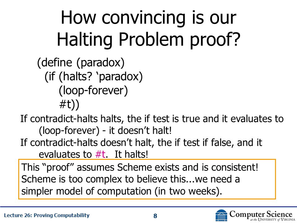 8 Lecture 26: Proving Computability How convincing is our Halting Problem proof.