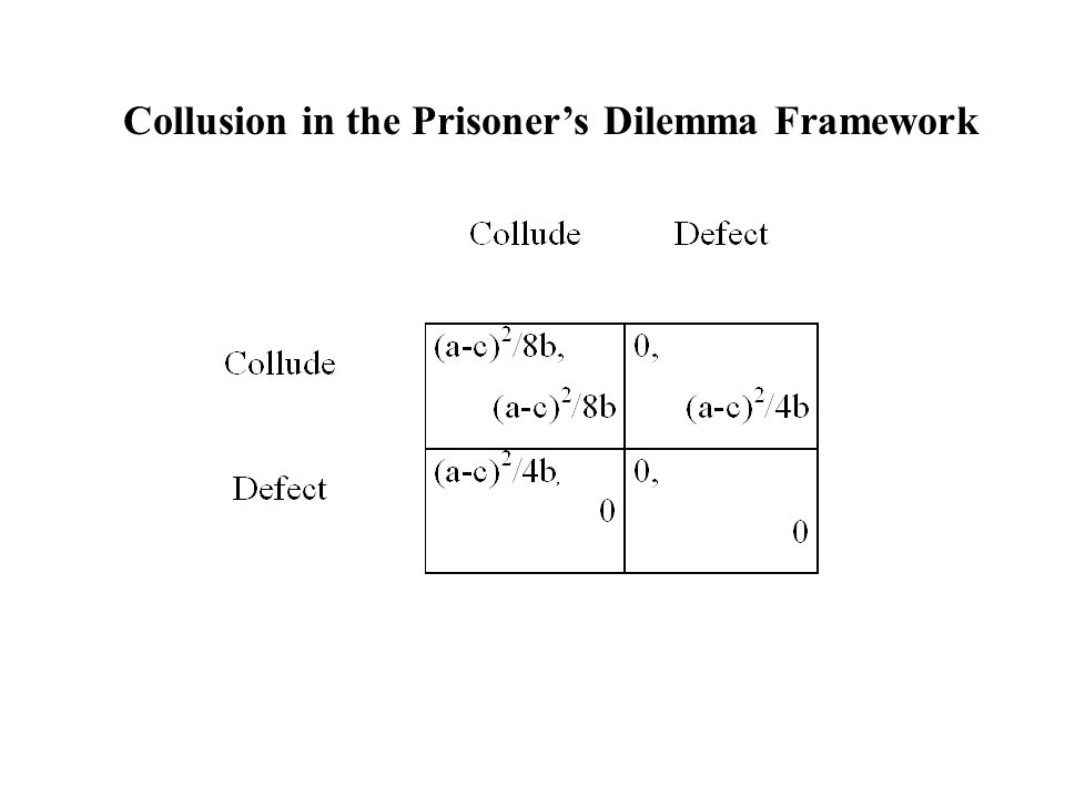 Collusion in the Prisoner's Dilemma Framework