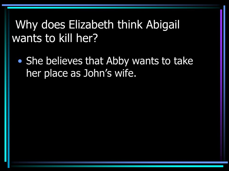 Why does Elizabeth think Abigail wants to kill her.