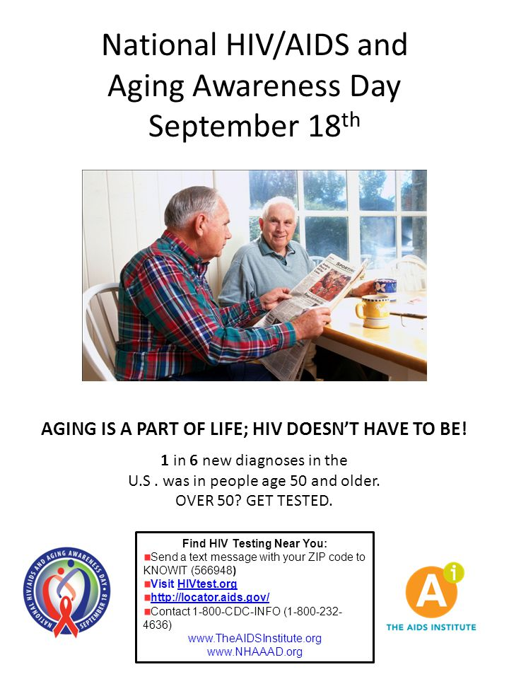 National HIV/AIDS and Aging Awareness Day September 18 th Find HIV Testing Near You: Send a text message with your ZIP code to KNOWIT (566948) Visit H