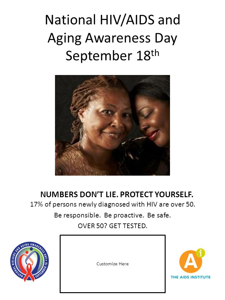 National HIV/AIDS and Aging Awareness Day September 18 th Customize Here NUMBERS DON'T LIE. PROTECT YOURSELF. 17% of persons newly diagnosed with HIV