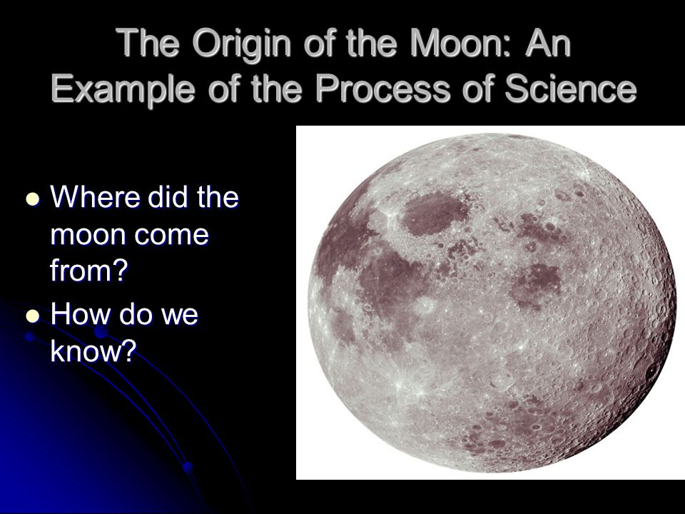 The Origin of the Moon: An Example of the Process of Science Where did the moon come from.