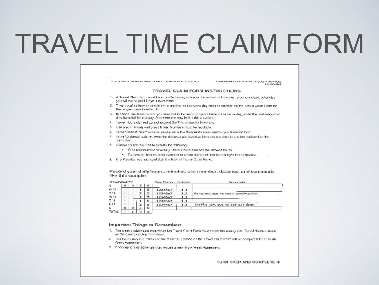 TRAVEL TIME CLAIM FORM