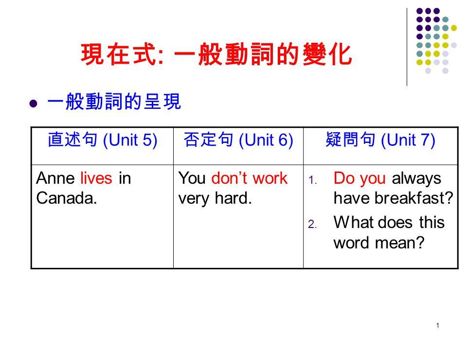 2 一般動詞的現在式用來表達 (Unit 5): a.不變的事實及 b. 有時候或時常發生的事情 c.