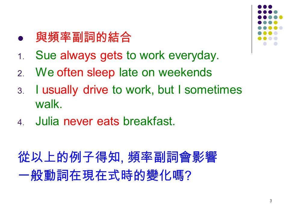 3 與頻率副詞的結合 1. Sue always gets to work everyday. 2. We often sleep late on weekends 3. I usually drive to work, but I sometimes walk. 4. Julia never ea