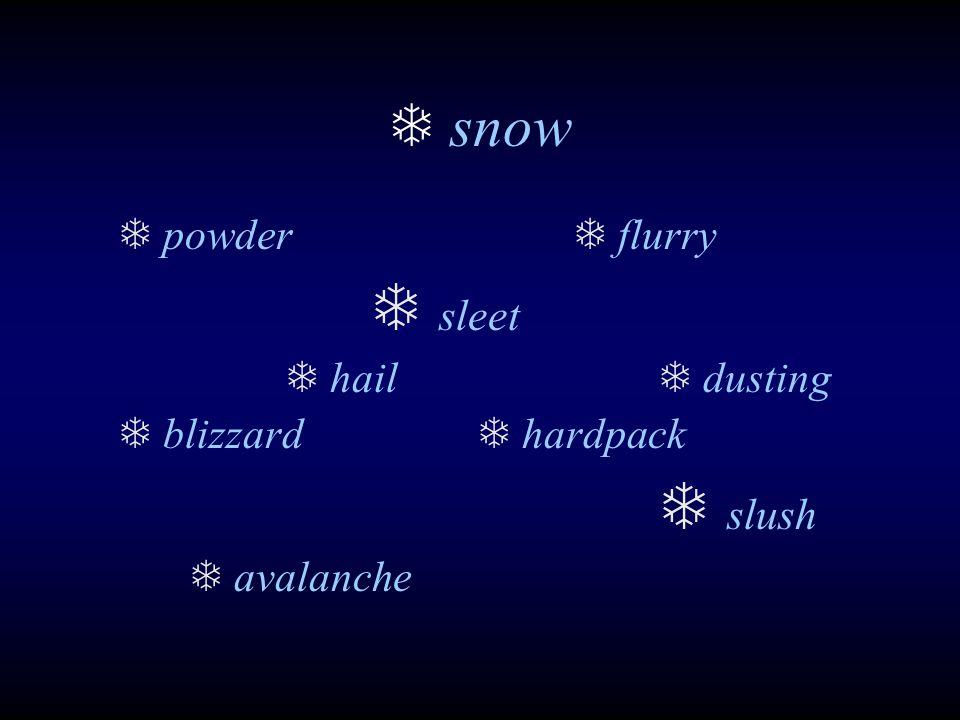  snow  powder  flurry  sleet  hail  dusting  blizzard  hardpack  slush  avalanche