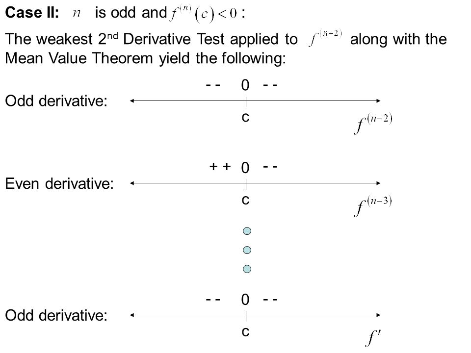 Case I: is odd and : The weakest 2 nd Derivative Test applied to along with the Mean Value Theorem yield the following: c 0 + Odd derivative: c 0 + -