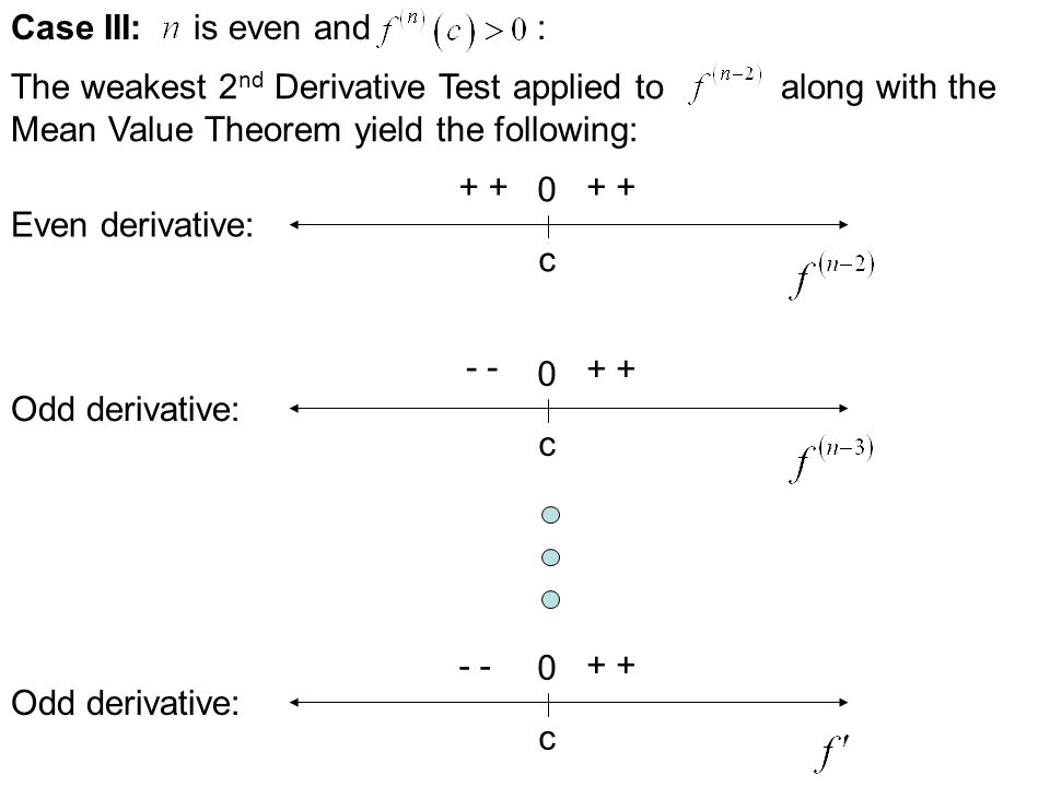 Case II: is odd and : The weakest 2 nd Derivative Test applied to along with the Mean Value Theorem yield the following: c 0 - Odd derivative: c 0 - +