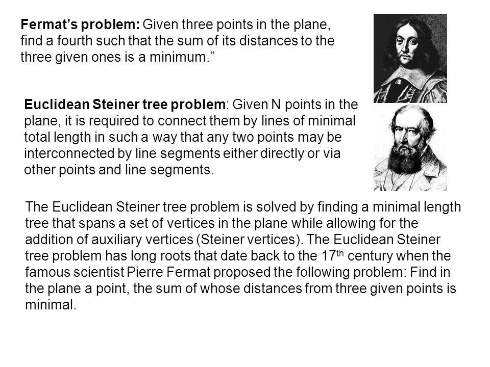 Fermat/Steiner Problems
