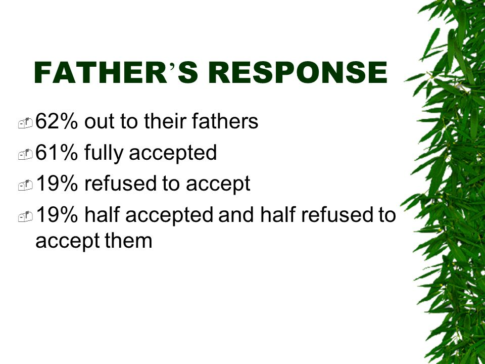 FATHER ' S RESPONSE  62% out to their fathers  61% fully accepted  19% refused to accept  19% half accepted and half refused to accept them