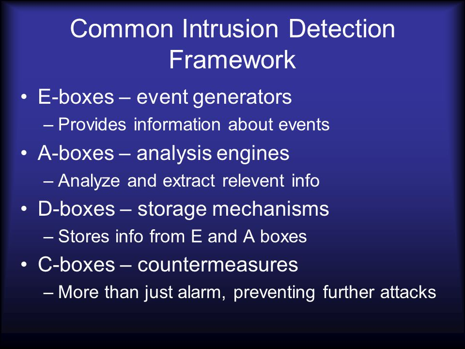 Common Intrusion Detection Framework E-boxes – event generators –Provides information about events A-boxes – analysis engines –Analyze and extract relevent info D-boxes – storage mechanisms –Stores info from E and A boxes C-boxes – countermeasures –More than just alarm, preventing further attacks