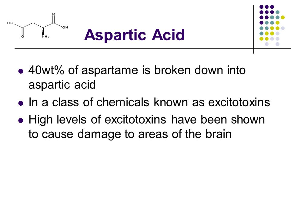 Aspartic Acid 40wt% of aspartame is broken down into aspartic acid In a class of chemicals known as excitotoxins High levels of excitotoxins have been