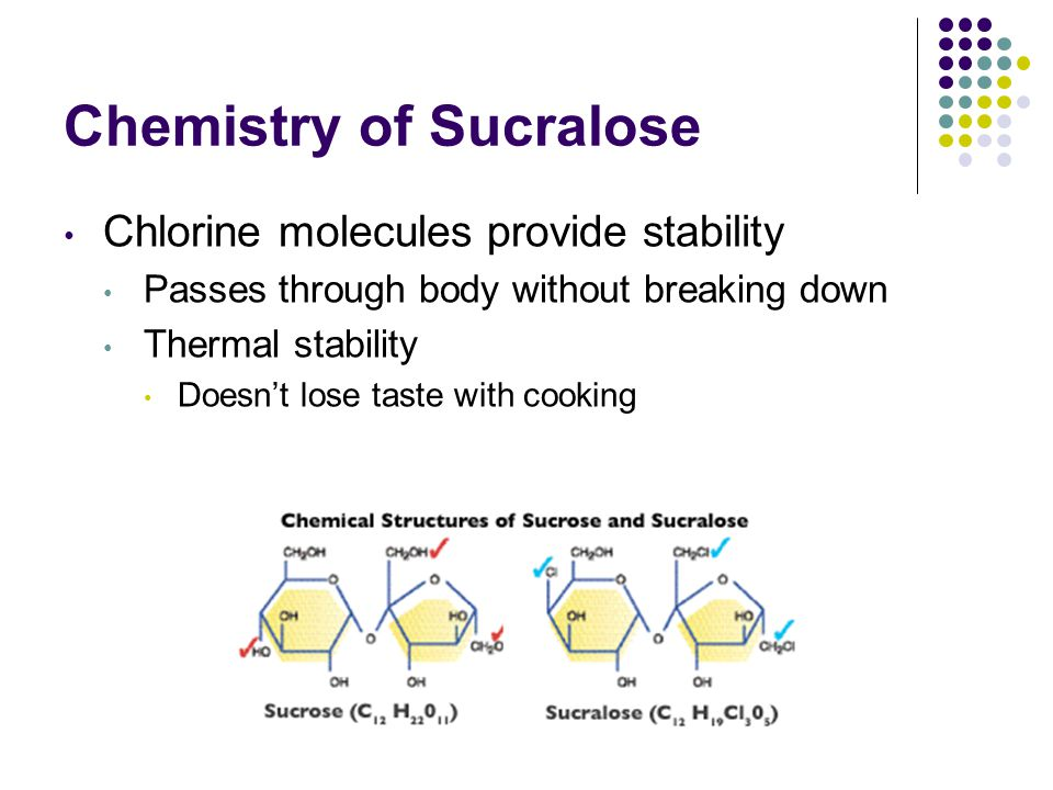 Chemistry of Sucralose Chlorine molecules provide stability Passes through body without breaking down Thermal stability Doesn't lose taste with cookin