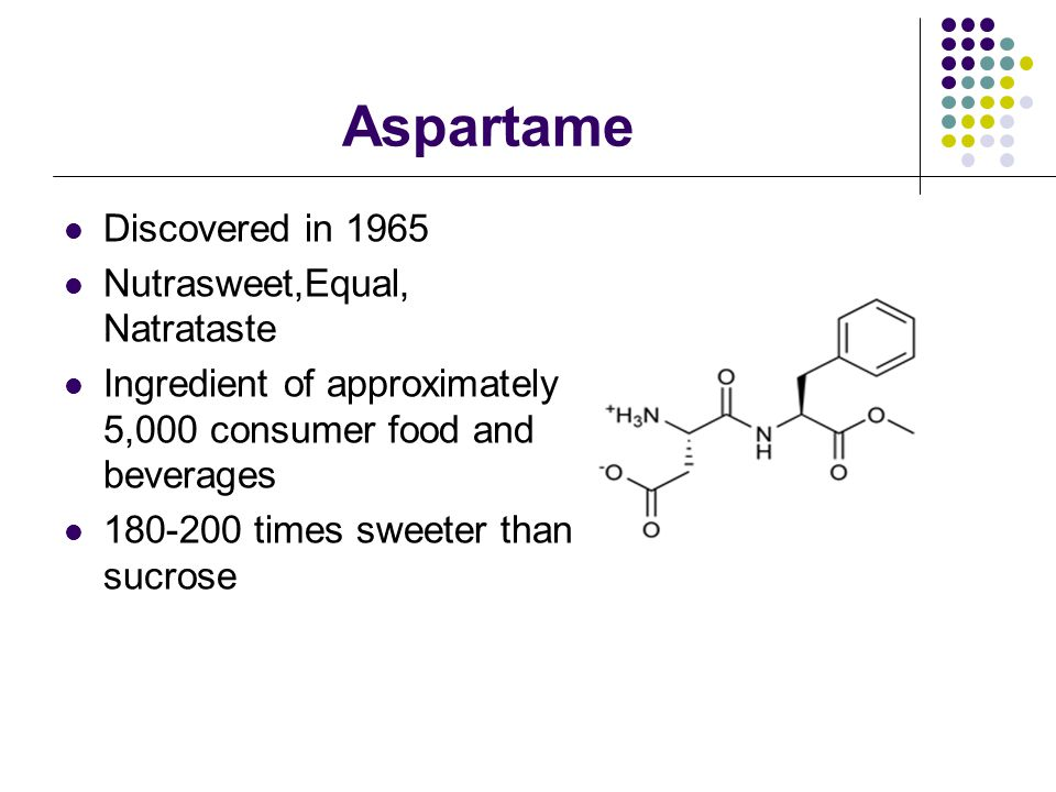 Acesulfame Potassium Around 90 studies have been conducted on this sweetener, with no documented health risks. Discovered in 1967 Approved in the United States since 1988 Sunett, Sweet One 100-200 times sweeter than sucrose
